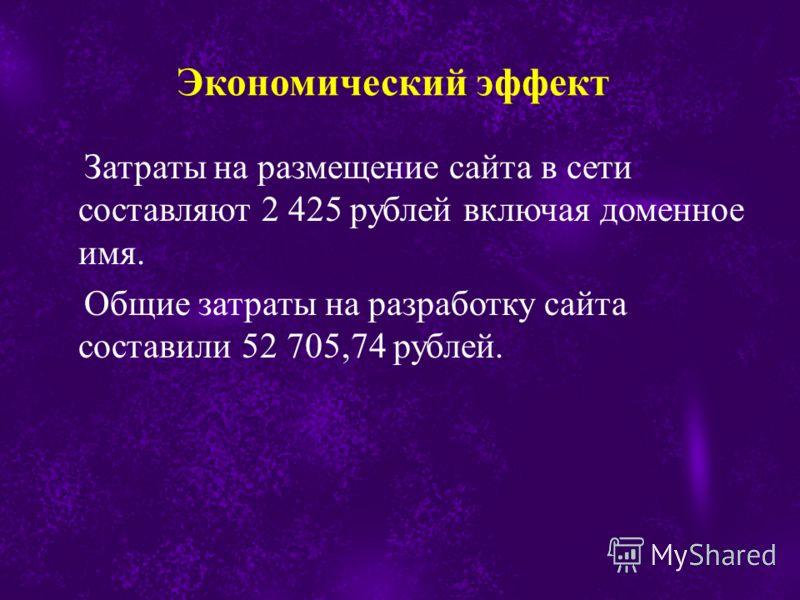 Затраты на размещение сайта в сети составляют 2 425 рублей включая доменное имя. Общие затраты на разработку сайта составили 52 705,74 рублей.