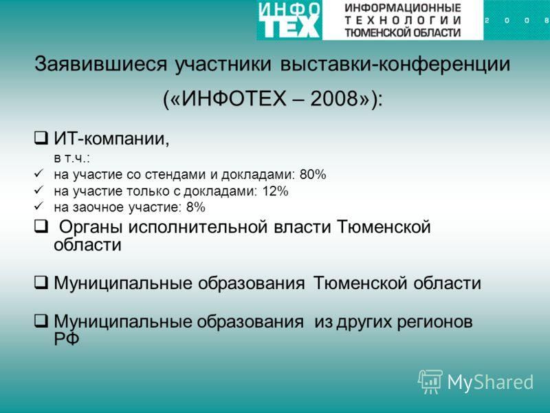 Заявившиеся участники выставки-конференции («ИНФОТЕХ – 2008»): ИТ-компании, в т.ч.: на участие со стендами и докладами: 80% на участие только с докладами: 12% на заочное участие: 8% Органы исполнительной власти Тюменской области Муниципальные образов