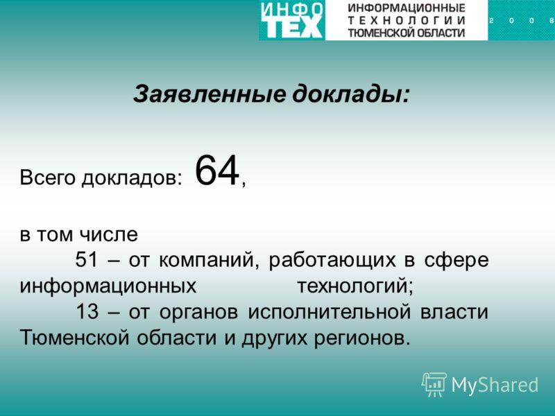 Заявленные доклады: Всего докладов: 64, в том числе 51 – от компаний, работающих в сфере информационных технологий; 13 – от органов исполнительной власти Тюменской области и других регионов.