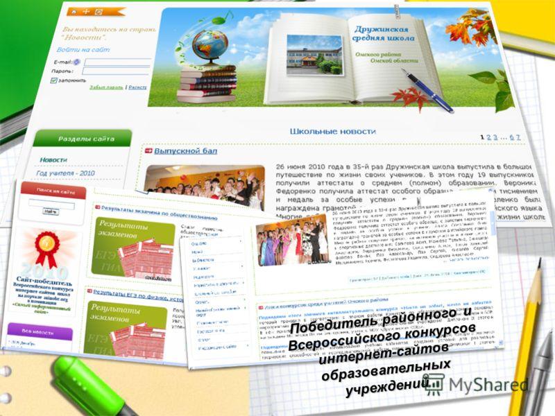Победитель районного и Всероссийского конкурсов интернет-сайтов образовательных учреждений