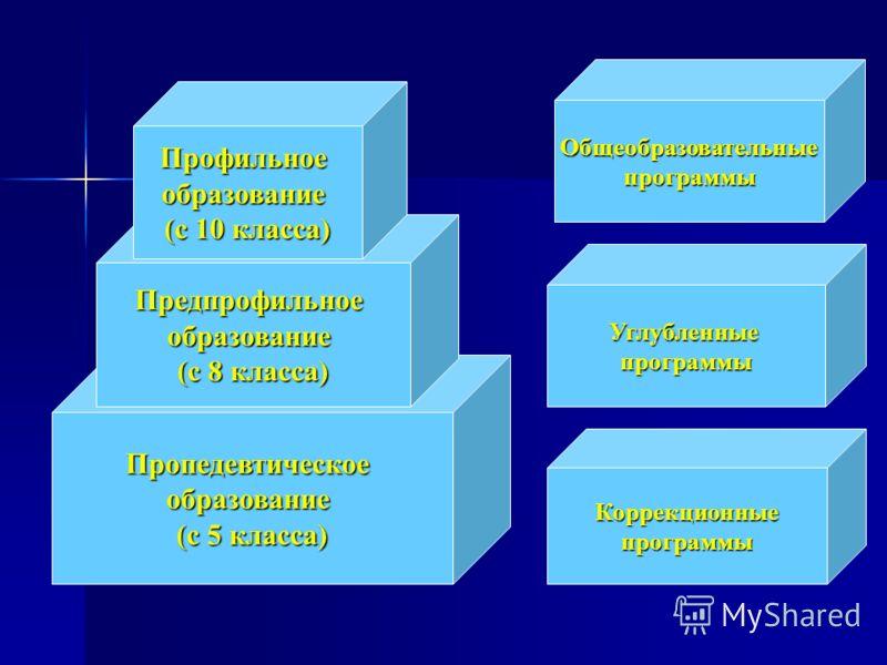 Пропедевтическоеобразование (с 5 класса) Предпрофильноеобразование (с 8 класса) Профильноеобразование (с 10 класса) Углубленныепрограммы Коррекционныепрограммы Общеобразовательныепрограммы