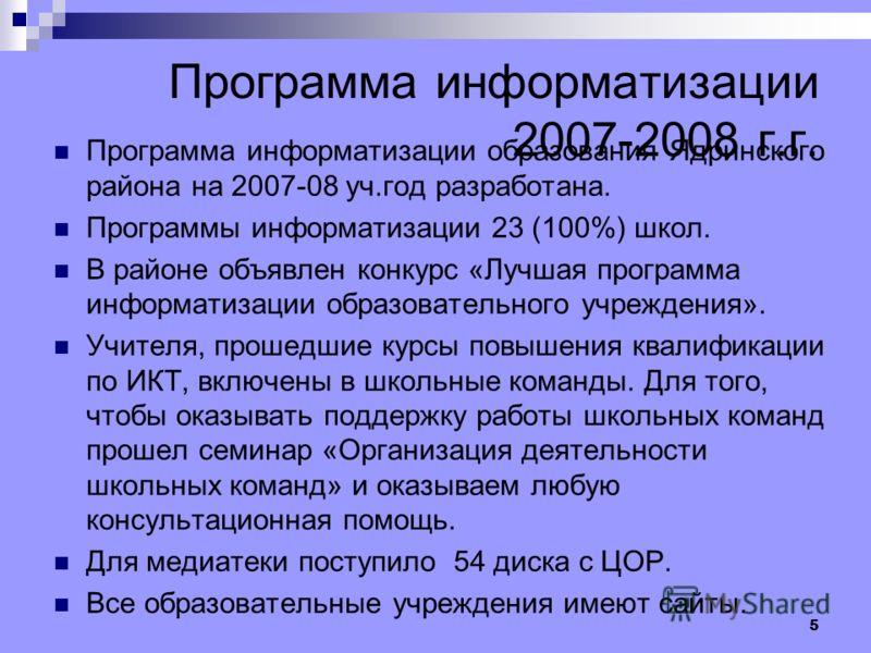 5 Программа информатизации 2007-2008 г.г. Программа информатизации образования Ядринского района на 2007-08 уч.год разработана. Программы информатизации 23 (100%) школ. В районе объявлен конкурс «Лучшая программа информатизации образовательного учреж