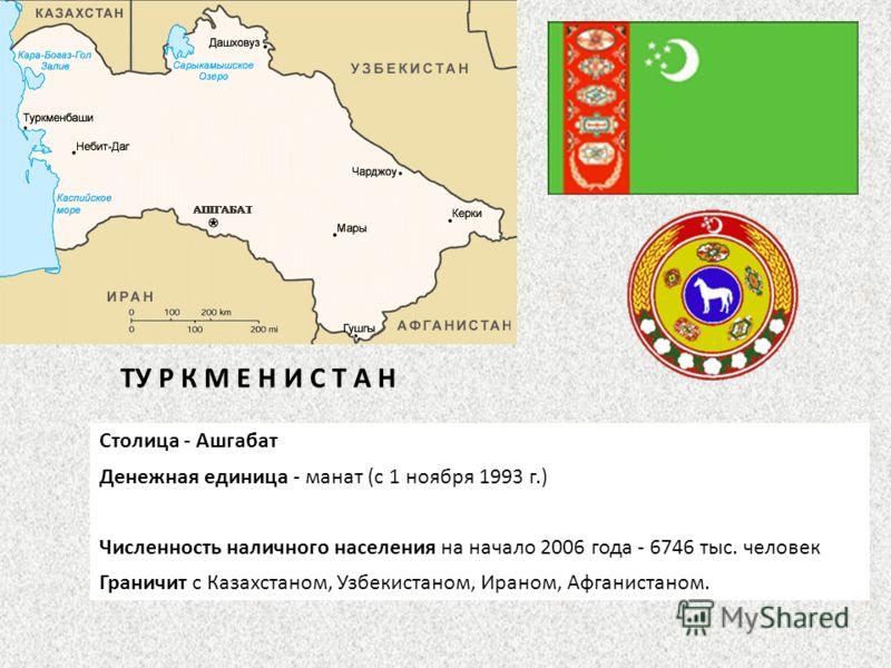 Столица - Ашгабат Денежная единица - манат (с 1 ноября 1993 г.) Численность наличного населения на начало 2006 года - 6746 тыс. человек Граничит с Казахстаном, Узбекистаном, Ираном, Афганистаном. ТУ Р К М Е Н И С Т А Н
