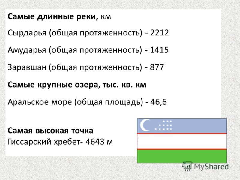 Самые длинные реки, км Сырдарья (общая протяженность) - 2212 Амударья (общая протяженность) - 1415 Заравшан (общая протяженность) - 877 Самые крупные озера, тыс. кв. км Аральское море (общая площадь) - 46,6 Самая высокая точка Гиссарский хребет- 4643