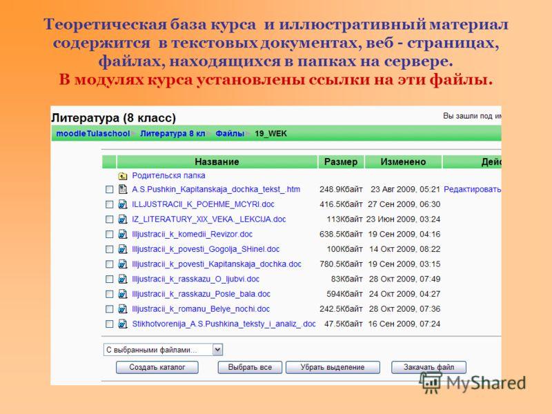 Теоретическая база курса и иллюстративный материал содержится в текстовых документах, веб - страницах, файлах, находящихся в папках на сервере. В модулях курса установлены ссылки на эти файлы.