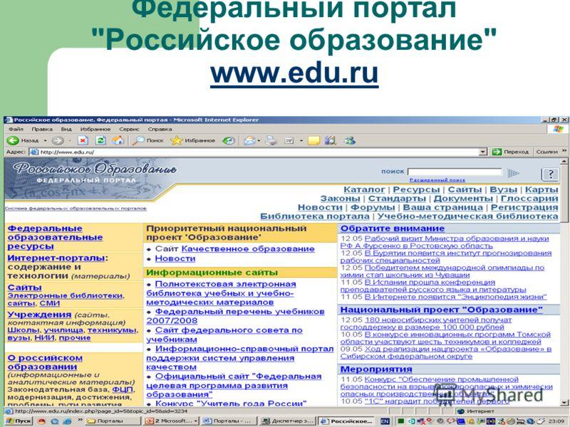 Федеральный портал Российское образование www.edu.ru www.edu.ru