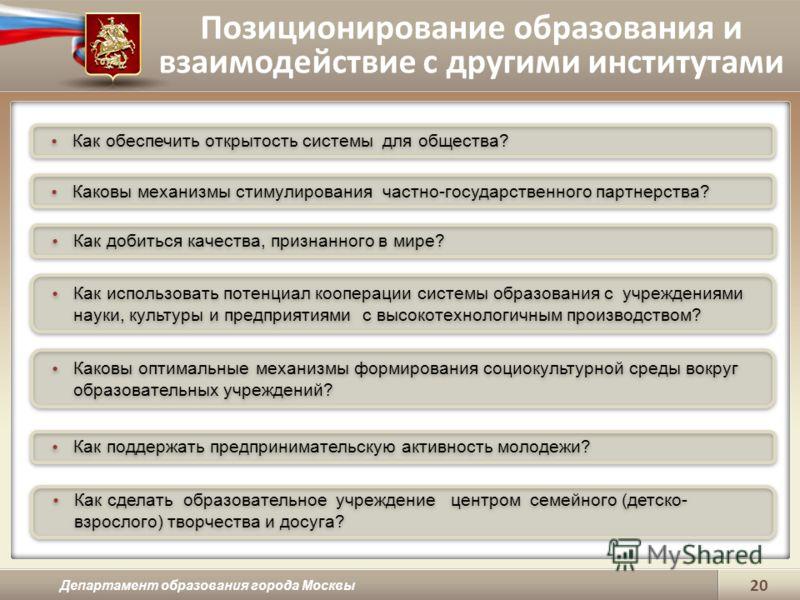 Позиционирование образования и взаимодействие с другими институтами Департамент образования города Москвы 20 Как обеспечить открытость системы для общества? Каковы механизмы стимулирования частно-государственного партнерства? Как добиться качества, п