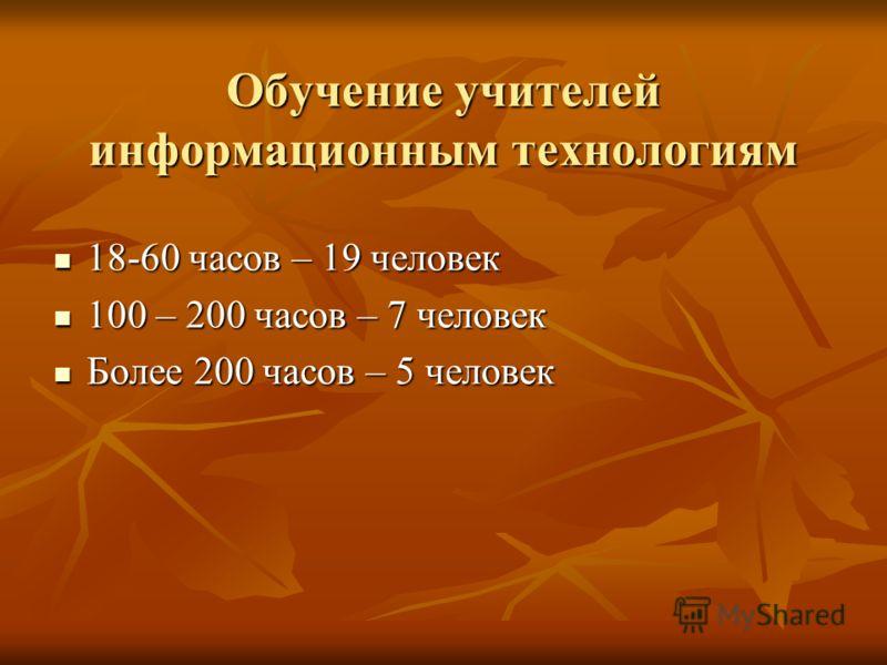 Обучение учителей информационным технологиям 18-60 часов – 19 человек 18-60 часов – 19 человек 100 – 200 часов – 7 человек 100 – 200 часов – 7 человек Более 200 часов – 5 человек Более 200 часов – 5 человек