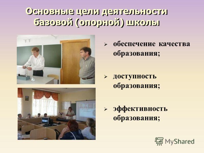 обеспечение качества образования ; доступность образования ; эффективность образования ; Основные цели деятельности базовой (опорной) школы