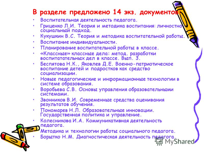 В разделе предложено 14 экз. документов: Воспитательная деятельность педагога. Гриценко Л.И. Теория и методика воспитания: личностно- социальный подход. Кукушкин В.С. Теория и методика воспитательной работы. Воспитание индивидуальности. Планирование