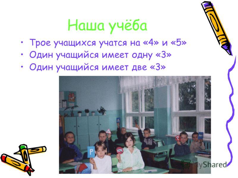 Наша учёба Трое учащихся учатся на «4» и «5» Один учащийся имеет одну «3» Один учащийся имеет две «3»