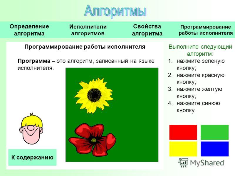 Программирование работы исполнителя Программа – это алгоритм, записанный на языке исполнителя. Выполните следующий алгоритм: 1.нажмите зеленую кнопку; 2.нажмите красную кнопку; 3.нажмите желтую кнопку; 4.нажмите синюю кнопку. Исполнители алгоритмов О
