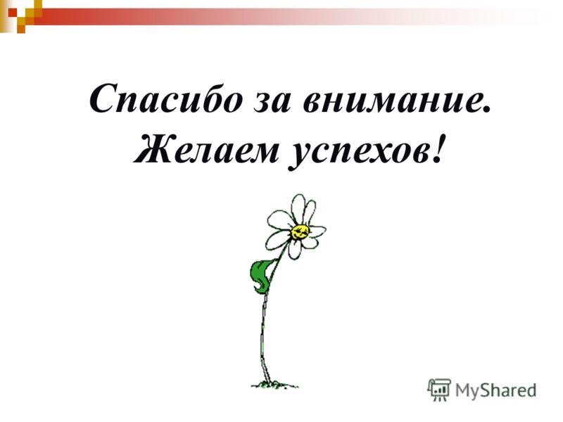 Спасибо за внимание. Желаем успехов!