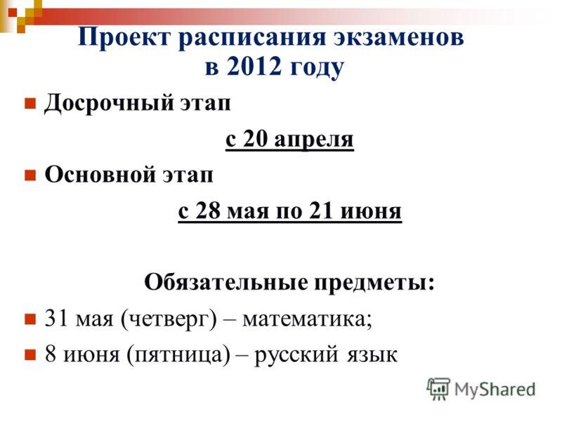 Проект расписания экзаменов в 2012 году Досрочный этап с 20 апреля Основной этап с 28 мая по 21 июня Обязательные предметы: 31 мая (четверг) – математика; 8 июня (пятница) – русский язык