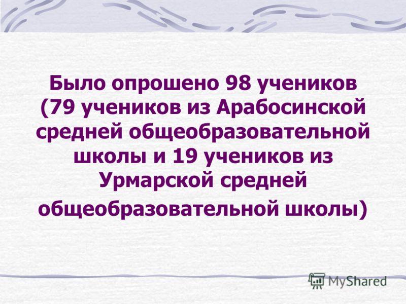 Было опрошено 98 учеников (79 учеников из Арабосинской средней общеобразовательной школы и 19 учеников из Урмарской средней общеобразовательной школы)