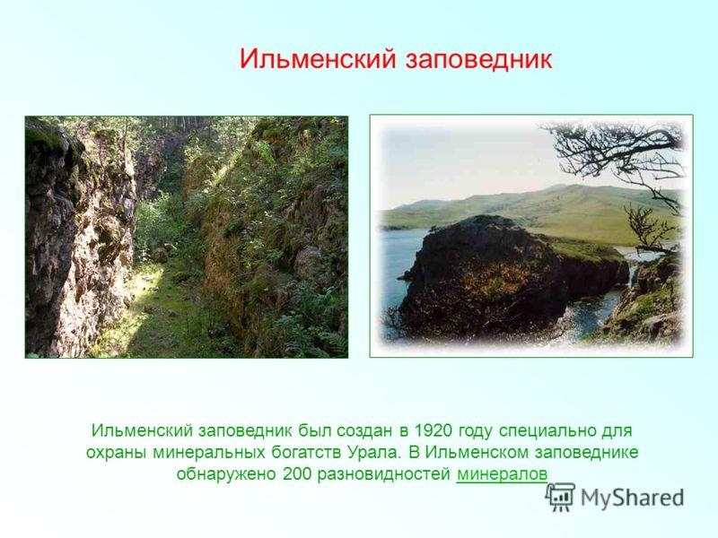 Ильменский заповедник Ильменский заповедник был создан в 1920 году специально для охраны минеральных богатств Урала. В Ильменском заповеднике обнаружено 200 разновидностей минераловминералов