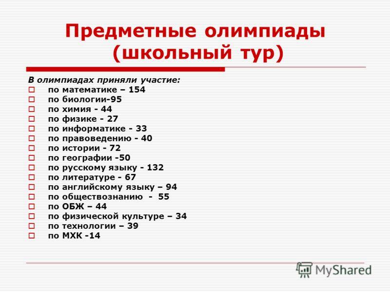 Предметные олимпиады (школьный тур) В олимпиадах приняли участие: по математике – 154 по биологии-95 по химия - 44 по физике - 27 по информатике - 33 по правоведению - 40 по истории - 72 по географии -50 по русскому языку - 132 по литературе - 67 по
