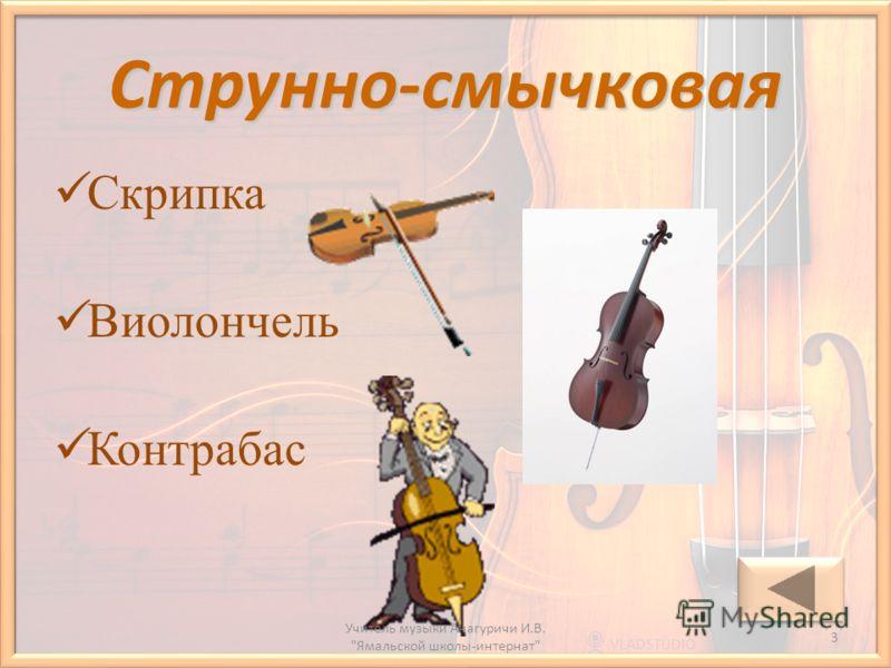 Струнно-смычковая Скрипка Виолончель Контрабас 3 Учитель музыки Анагуричи И.В. Ямальской школы-интернат