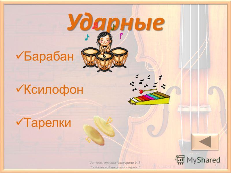 Ударные Барабан Ксилофон Тарелки 6 Учитель музыки Анагуричи И.В. Ямальской школы-интернат