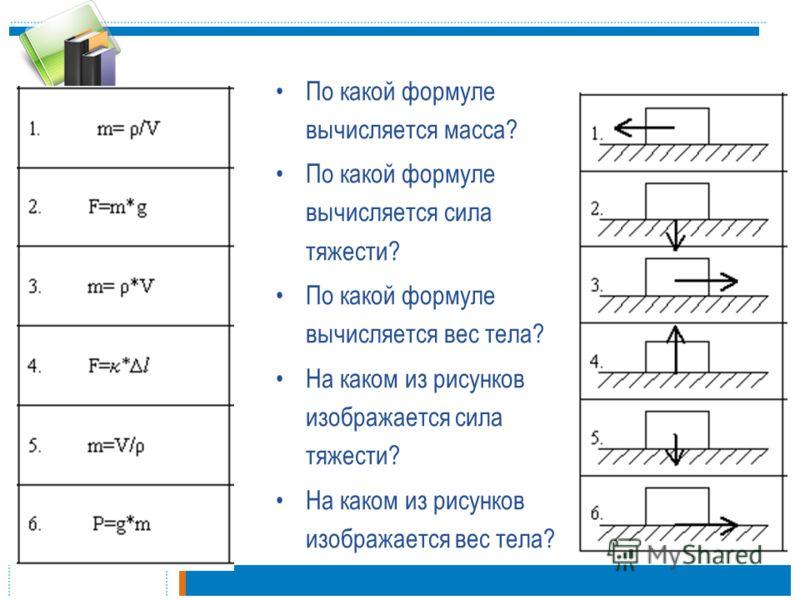 По какой формуле вычисляется масса? По какой формуле вычисляется сила тяжести? По какой формуле вычисляется вес тела? На каком из рисунков изображается сила тяжести? На каком из рисунков изображается вес тела?