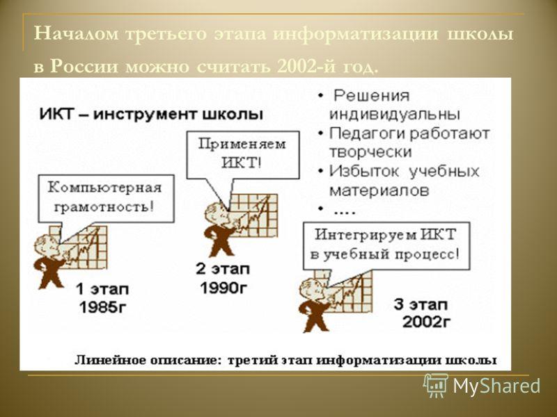 Началом третьего этапа информатизации школы в России можно считать 2002-й год.