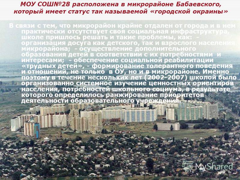 МОУ СОШ28 расположена в микрорайоне Бабаевского, который имеет статус так называемой «городской окраины» В связи с тем, что микрорайон крайне отдален от города и в нем практически отсутствует своя социальная инфраструктура, школе пришлось решать и та