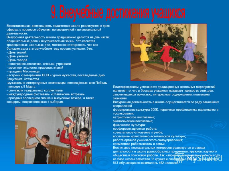 Воспитательная деятельность педагогов в школе реализуется в трех сферах: в процессе обучения, во внеурочной и во внешкольной деятельности. Внеурочная деятельность школы традиционно делится на две части: общешкольные дела и внутриклассная жизнь. Что к