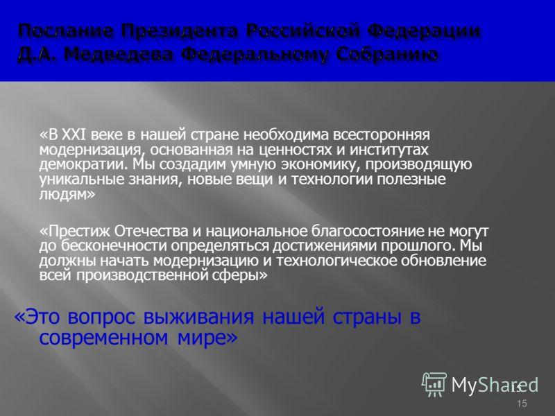 15 Послание Президента Российской Федерации Д.А. Медведева Федеральному Cобранию Послание Президента Российской Федерации Д.А. Медведева Федеральному Cобранию «В XXI веке в нашей стране необходима всесторонняя модернизация, основанная на ценностях и
