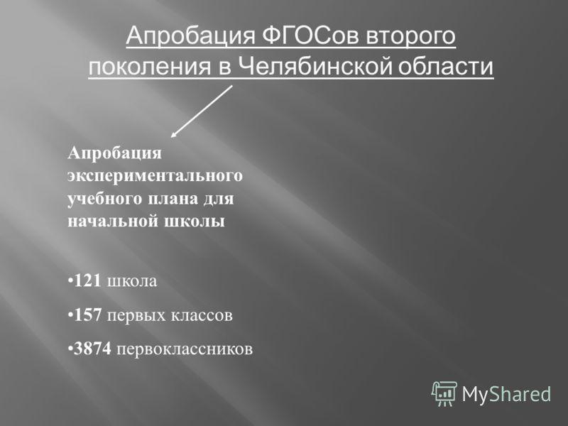 Апробация ФГОСов второго поколения в Челябинской области Апробация экспериментального учебного плана для начальной школы 121 школа 157 первых классов 3874 первоклассников