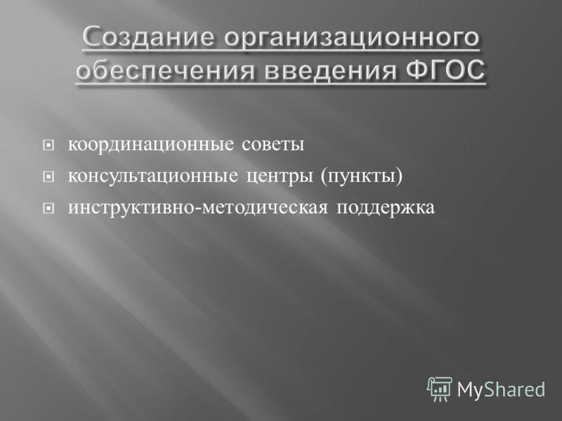 координационные советы консультационные центры ( пункты ) инструктивно - методическая поддержка