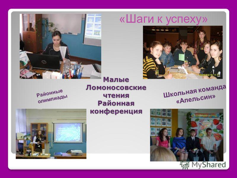 «Шаги к успеху» Малые Ломоносовские чтения Районная конференция Школьная команда «Апельсин» Районные олимпиады