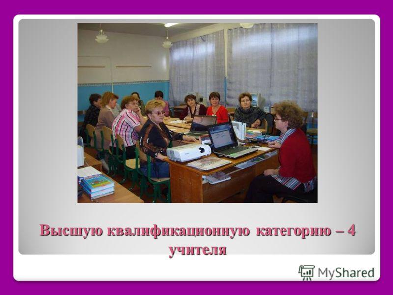 Высшую квалификационную категорию – 4 учителя