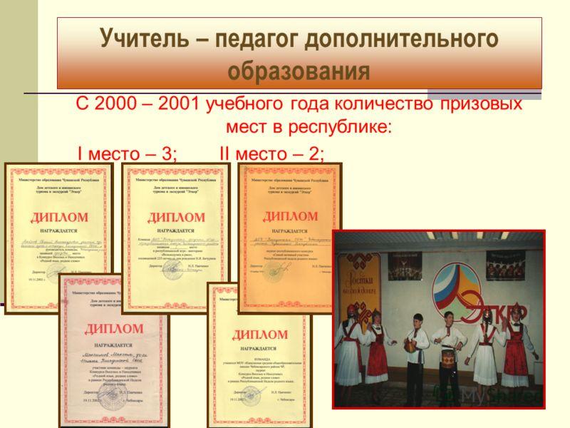 Учитель – педагог дополнительного образования С 2000 – 2001 учебного года количество призовых мест в республике: I место – 3; II место – 2;
