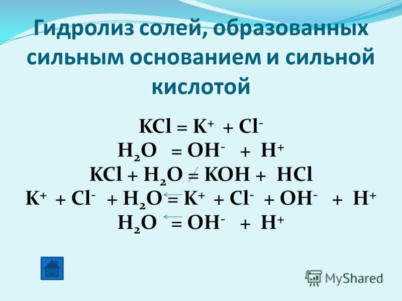 Гидролиз солей, образованных сильным основанием и сильной кислотой KCl = K + + Cl - H 2 O = OH - + H + KCl + H 2 O = KOH + HCl K + + Cl - + H 2 O = K + + Cl - + OH - + H + H 2 O = OH - + H +