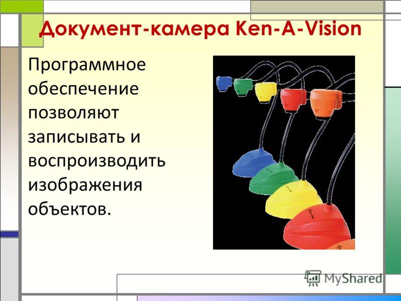 Документ-камера Ken-A-Vision Программное обеспечение позволяют записывать и воспроизводить изображения объектов.