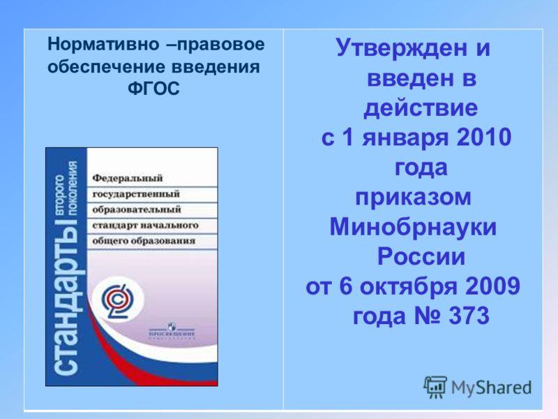 54 Нормативно –правовое обеспечение введения ФГОС Утвержден и введен в действие с 1 января 2010 года приказом Минобрнауки России от 6 октября 2009 года 373