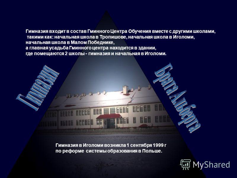 Гимназия в Иголоми возникла 1 сентября 1999 г по реформе системы образования в Польше. Гимназия входит в состав Гминного Центра Обучения вместе с другими школами, такими как: начальная школа в Тропишове, начальная школа в Иголоми, начальная школа в М