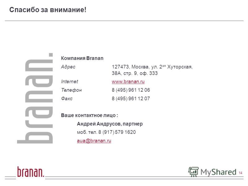 Спасибо за внимание! Компания Branan Адрес127473, Москва, ул. 2 ая Хуторская, 38А, стр. 9, оф. 333 Internet www.branan.ruwww.branan.ru Телефон 8 (495) 961 12 06 Факс 8 (495) 961 12 07 Ваше контактное лицо : Андрей Андрусов, партнер моб. тел. 8 (917)