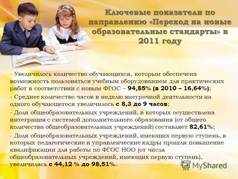 Ключевые показатели по направлению «Переход на новые образовательные стандарты» в 2011 году - Увеличилось количество обучающихся, которым обеспечена возможность пользоваться учебным оборудованием для практических работ в соответствии с новым ФГОС – 9