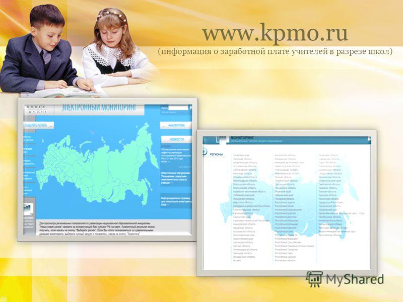 www.kpmo.ru (информация о заработной плате учителей в разрезе школ)