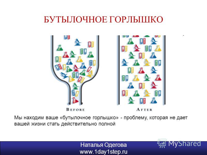 Наталья Одегова www.1day1step.ru БУТЫЛОЧНОЕ ГОРЛЫШКО Наталья Одегова www.1day1step.ru Мы находим ваше «бутылочное горлышко» - проблему, которая не дает вашей жизни стать действительно полной