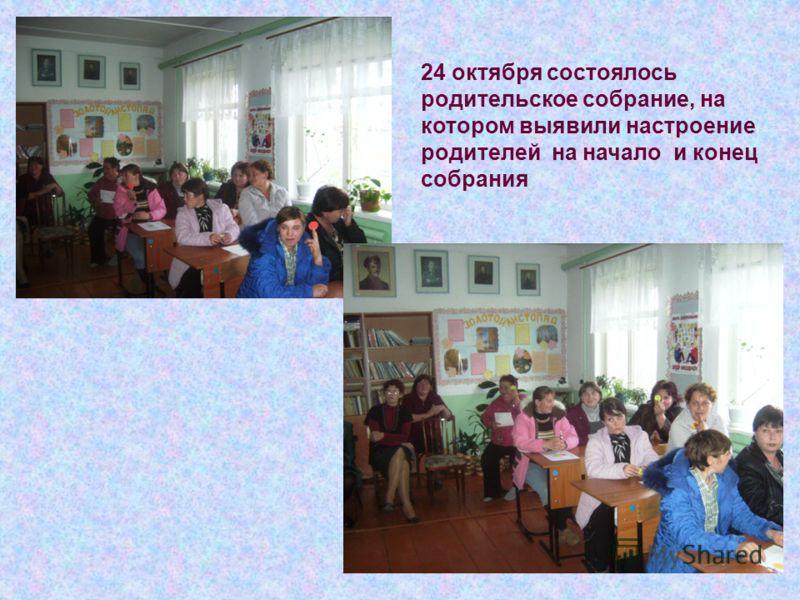 24 октября состоялось родительское собрание, на котором выявили настроение родителей на начало и конец собрания