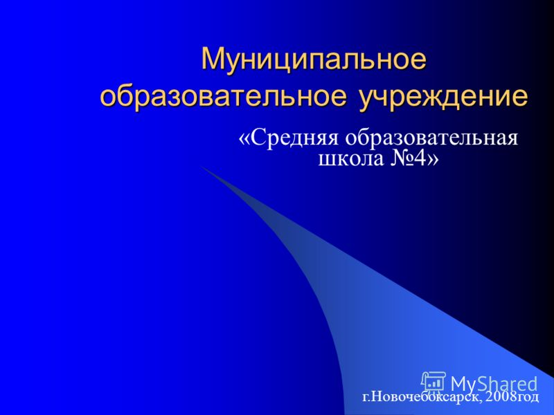 Муниципальное образовательное учреждение «Средняя образовательная школа 4» г.Новочебоксарск, 2008год