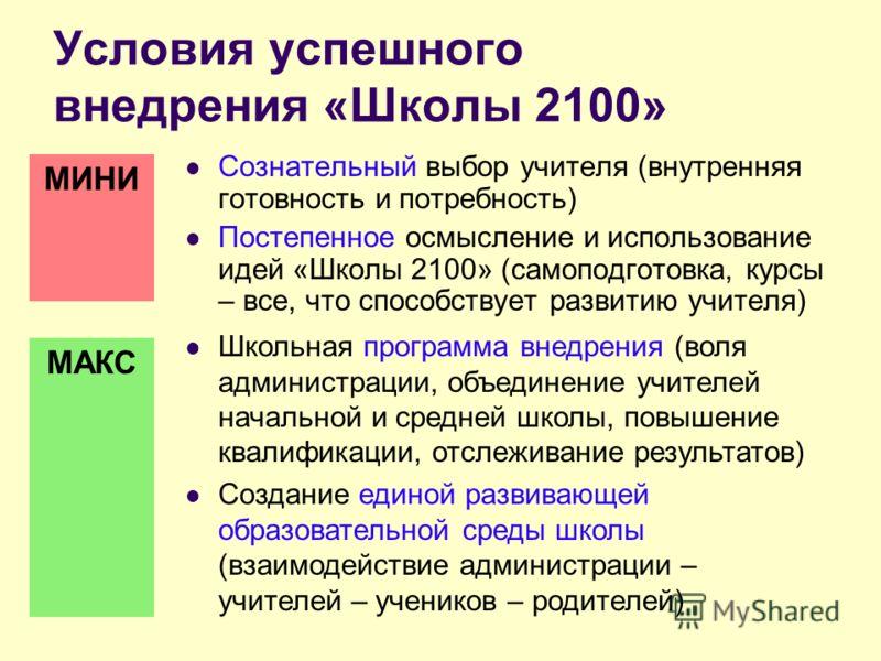 Условия успешного внедрения «Школы 2100» Сознательный выбор учителя (внутренняя готовность и потребность) Постепенное осмысление и использование идей «Школы 2100» (самоподготовка, курсы – все, что способствует развитию учителя) МИНИ МАКС Школьная про