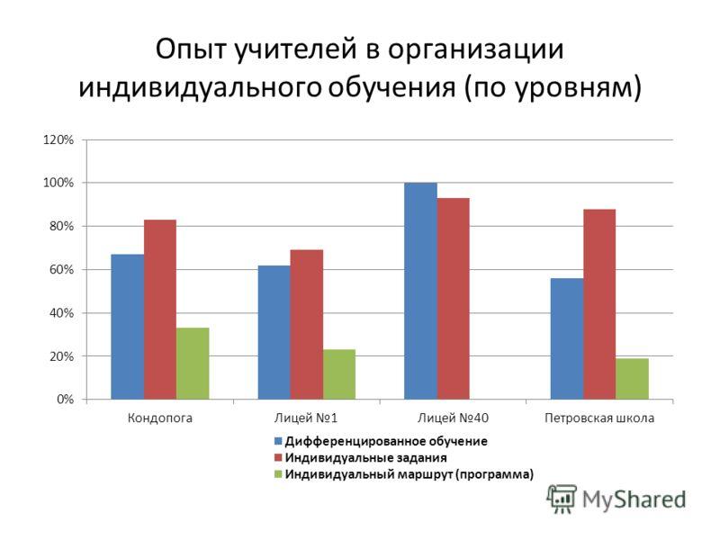 Опыт учителей в организации индивидуального обучения (по уровням)