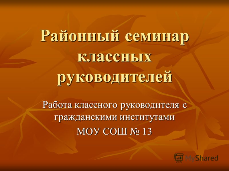 Районный семинар классных руководителей Работа классного руководителя с гражданскими институтами МОУ СОШ 13