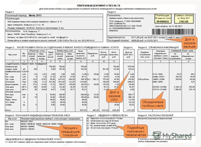 слайд 35 тел. 8 (800) 555-70-20 Общедомовые приборы учета Долг в разрезе услуг Подробные пояснения к перерасчетам Долг в разрезе месяцев Текущие и предыдущие показания