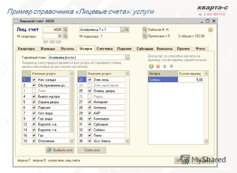 слайд 51 тел. 8 (800) 555-70-20 Пример справочника «Лицевые счета»: услуги
