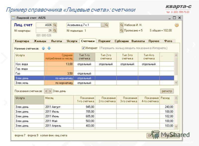 слайд 52 тел. 8 (800) 555-70-20 Пример справочника «Лицевые счета»: счетчики