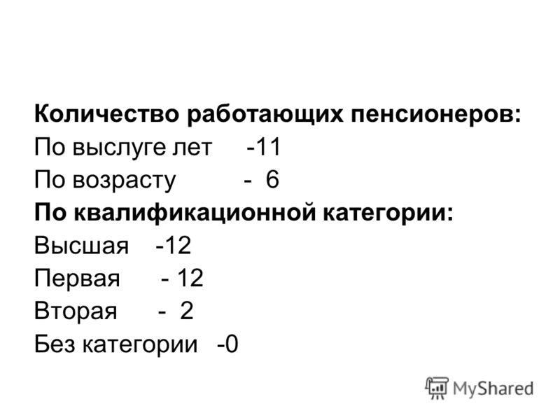 Количество работающих пенсионеров: По выслуге лет -11 По возрасту - 6 По квалификационной категории: Высшая -12 Первая - 12 Вторая - 2 Без категории -0